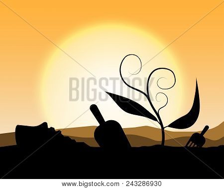 Plant A Tree;silhouette Planting Tree Background;sunset With Growing Plant