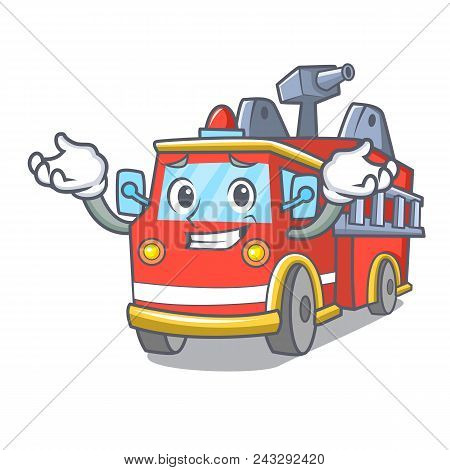 Grinning fire truck character cartoon vector illustration poster