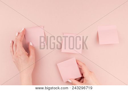 Creative Flat Lay Photo Of Workspace Desk With Millennial Pink Sticker Paper Post It Mock Up In Woma
