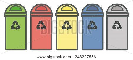 Set Garbage Icon. Waste, Five Colorful Recycle Bin Icon. Flat Design, Linear Styles. Wastebasket. Co