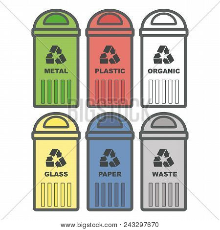 Set Garbage Icon. Waste, Six Colorful Recycle Bin Icon Melal, Glass, Paper, Plastic, Organic. Flat D