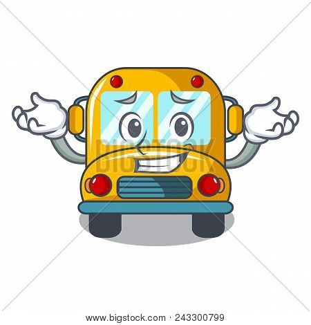 Grinning School Bus Character Cartoon Vector Illustration