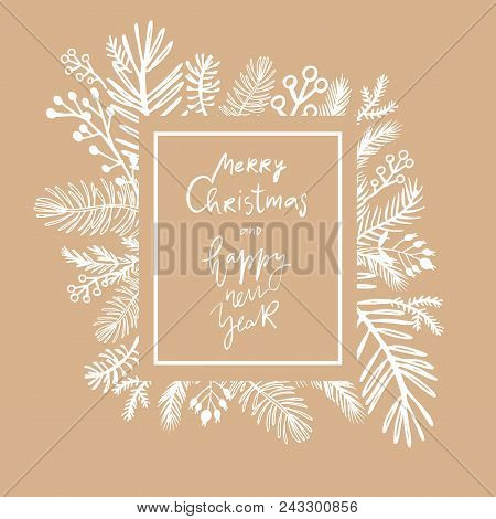 Hand Drawn Christmas  Greeting Card.hand Drawn Conifers: Fir, Larch, Juniper, Pine, Spruce  In Vecto
