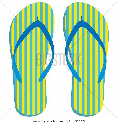 Colored Flipflops Icon. Slippers Icon. Isolated Blue, Yellow Striped On White Background. Vector Ill