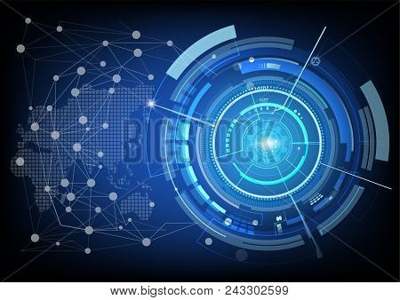 Digital Background With Modern Point Global Network Connection On World, Concept Of Global Business.