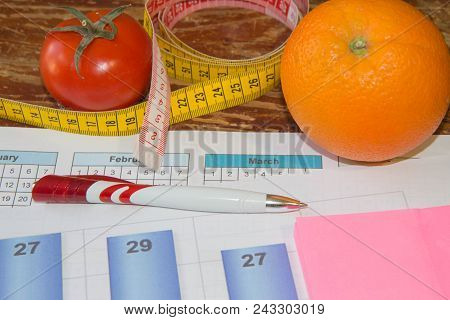 Citrus Fruits, Tomato. Concept Of Weight Loss. Healthy Lifestyle Diet With Fresh Fruits. Diet Concep