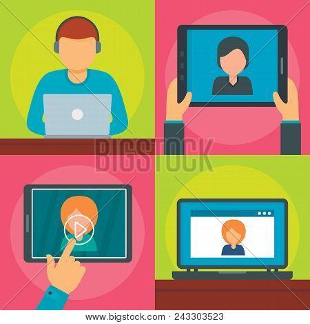 Webinar Training Online Banner Concept Set. Flat Illustration Of 4 Webinar Training Online Vector Ba