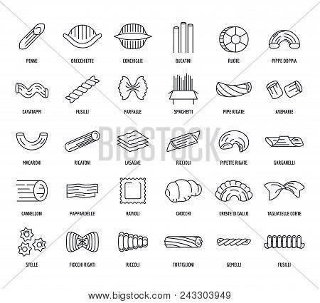 Macaroni Pasta Spaghetti Noodles Icons Set. Outline Illustration Of 30 Macaroni Pasta Spaghetti Nood
