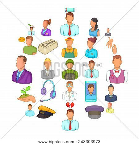 Human Resource Icons Set. Cartoon Set Of 25 Human Resource Vector Icons For Web Isolated On White Ba