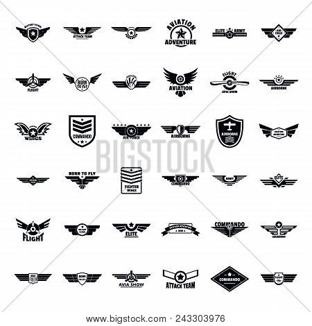 Airforce Military Army Badge Logo Icons Set. Simple Illustration Of 36 Airforce Military Army Badge