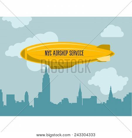 Dirigible Over City - Zeppelin With Advertizing Message In Clouds