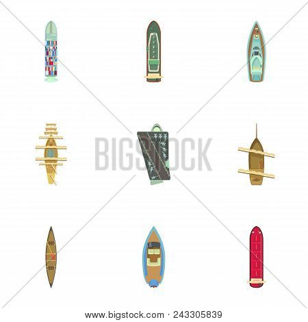Motorboat Icons Set. Cartoon Set Of 9 Motorboat Vector Icons For Web Isolated On White Background