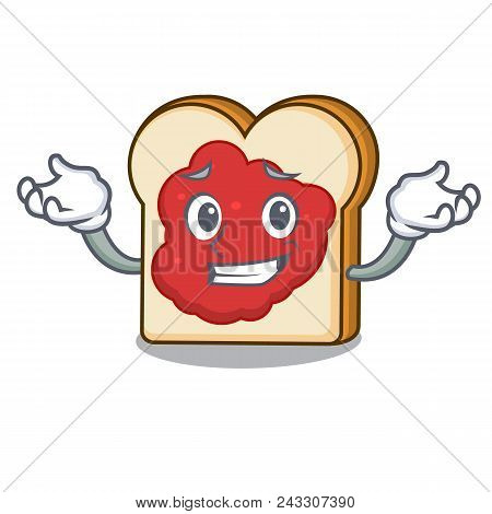 Grinning Bread With Jam Character Cartoon Vector Illustration