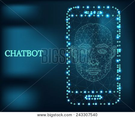 Bot Icon, Wireframe Polygon Concept. Chatbot Icon Mobile App. Abstract Vector Illustration With Poly