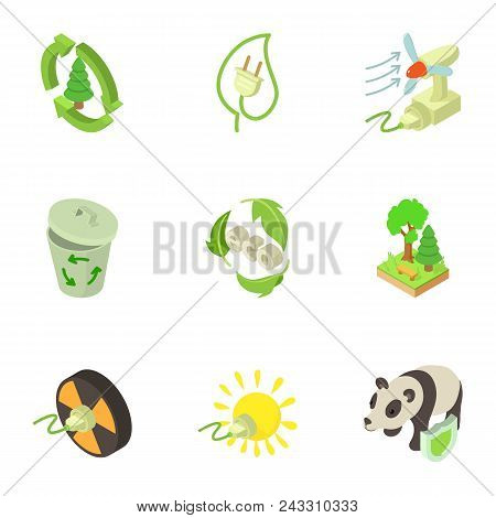 Pure Energy Icons Set. Isometric Set Of 9 Pure Energy Vector Icons For Web Isolated On White Backgro