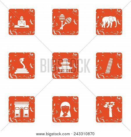 Introduce Icons Set. Grunge Set Of 9 Introduce Vector Icons For Web Isolated On White Background
