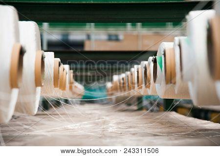 Yarn Thread Running In The Machine