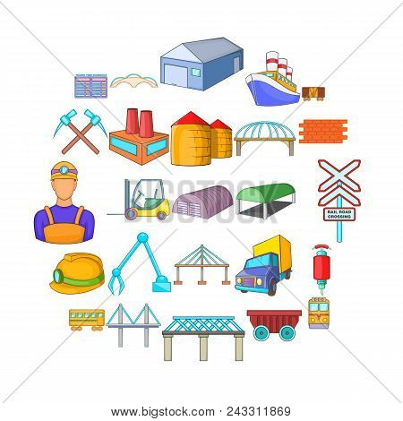 Physical Labor Icons Set. Cartoon Set Of 25 Physical Labor Vector Icons For Web Isolated On White Ba