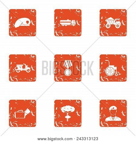 Military Court Icons Set. Grunge Set Of 9 Military Court Vector Icons For Web Isolated On White Back