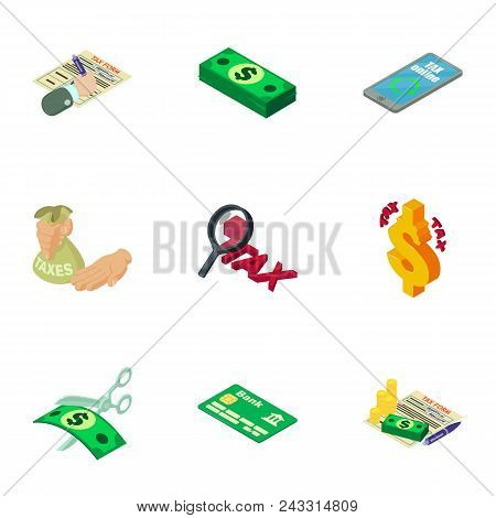 Financier Icons Set. Isometric Set Of 9 Financier Vector Icons For Web Isolated On White Background