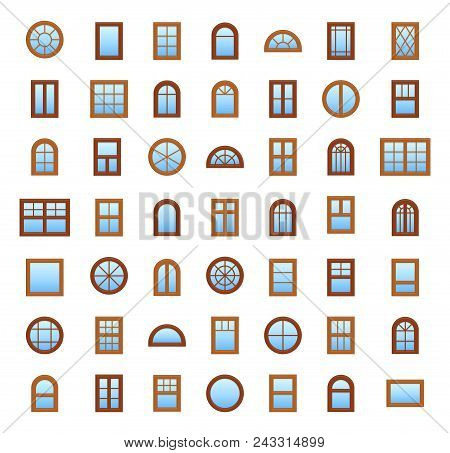 Windows. Architecture Elements. Flat Icons Isolated On White Background. Traditional, French, Arch A