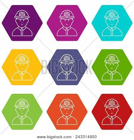 Miner Icons 9 Set Coloful Isolated On White For Web