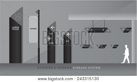exterior and interior signage blue graphic. direction, pole, wall mount and traffic signage system design template set. empty space for logo, text, color corporate identity poster