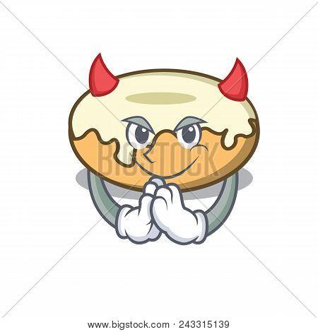 Devil Donut With Sugar Mascot Cartoon Vector Illustration