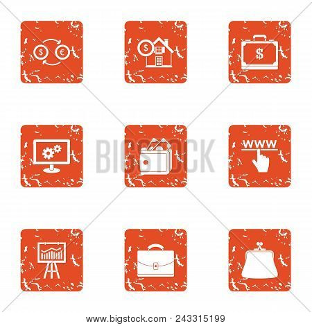 Coinage Icons Set. Grunge Set Of 9 Coinage Vector Icons For Web Isolated On White Background