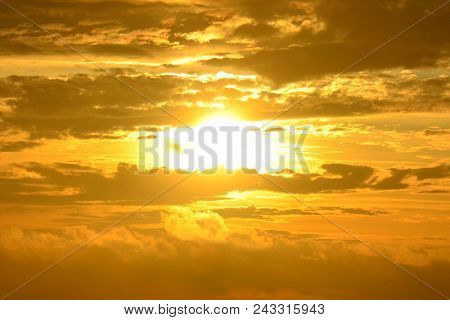 Sunset beaches of europe.Spanish beaches.Sunset sky background. Natural sunset sky landscape view, golden sky - Sunset sky landscape. Dramatic sunset cloudy sky with clouds lit by sunset sunlight.