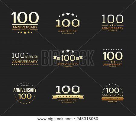 100th Anniversary Celebration Logo Set. 100 Year Jubilee Banner.
