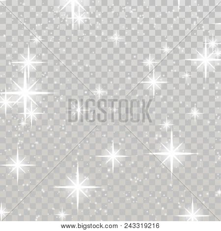 Bright Shimmering Sparkling Stars Over Checkered Background. Silver Twinkling Flickering Light. Beau