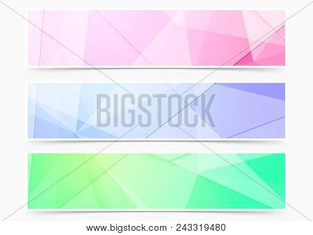 Collection Of Three Modern Bright Colorful Crystal Pattern Headers. Complex Vivid Scientifical Graph