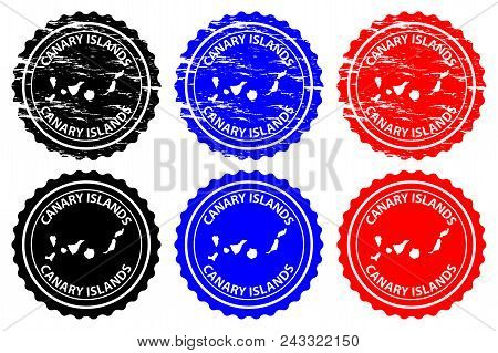 Canary Islands - Rubber Stamp - Vector, Canary Islands ( Islas Canarias) Map Pattern - Sticker - Bla