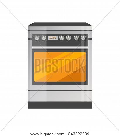 Kitchen Stove Of High Quality In Metallic Corpus. Electric Oven That Cooks Fast And Properly. Modern