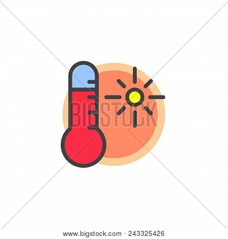 Thermometer Sunny Weather Filled Outline Icon, Line Vector Sign, Linear Colorful Pictogram Isolated