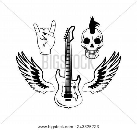 Rock And Roll Symbols As Electric Guitar, Punk Skull, Crown Hand Gesture And Two Wings Vector Illust
