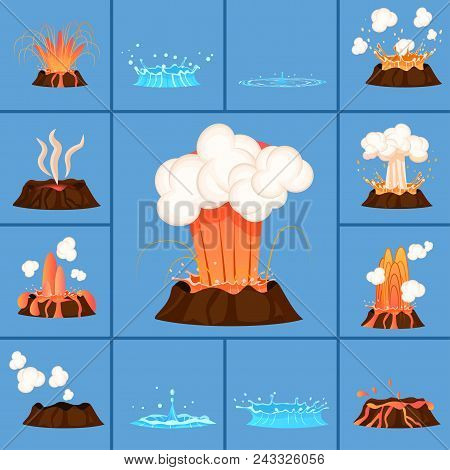 Set Of Volcanic Eruption Of Red-hot Lava And Damping Of Crater. Burst Of Hot Spring Vector Illustrat
