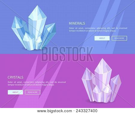 Minerals Crystals Web Posters Online Push Buttons, Precious Stones, Realistic Minerals And Transpare