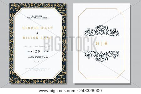 Set Of Vintage Wedding Invitation Card With Mandala Pattern. The Front And Rear Side. Beautiful Vict