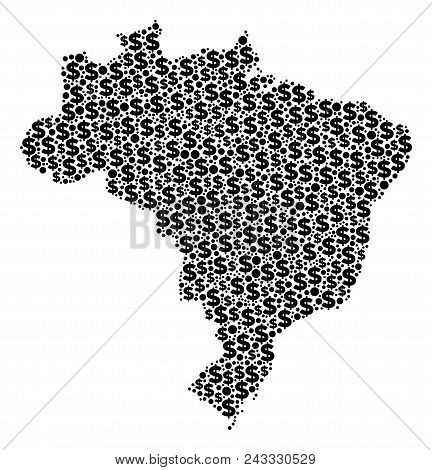 Brazil Map Mosaic Of Dollars And Sphere Points In Various Sizes. Abstract Vector Treasury And Gdp Br