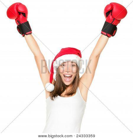 Santa Hat Christmas Woman Celebrating