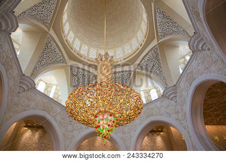 ABU DHABI, UAE - OCTOBER 16, 2017: Interior of Sheikh Zayed Mosque in Abu Dhabi. Mosque designed by Yusef Abdelki and opened in 2007.