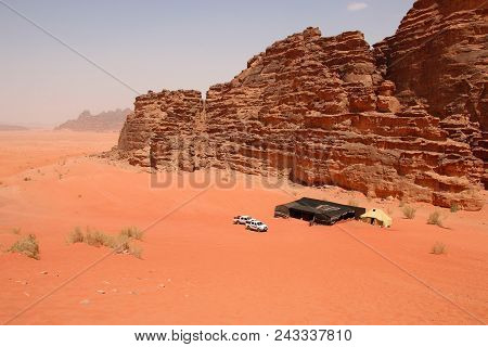 Red Sands Of The Canyon Of Wadi Rum Desert In Jordan. Wadi Rum Also Known As The Valley Of The Moon