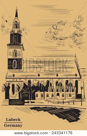 Church Of St. Mary In Berlin (lubeck), Germany. Landmark Of Berlin. Vector Hand Drawing Illustration