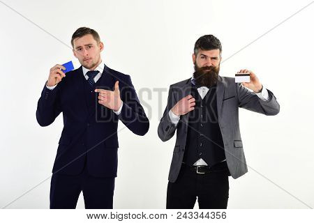 Businessmen Hold Credit Cards. Banker Trust In Safety And Reliability Of Banking System. Banking Con