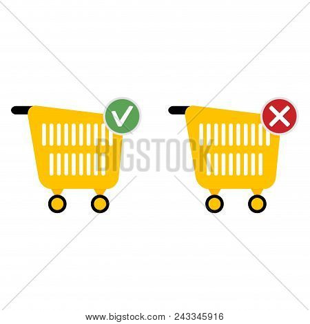 Add Or Cancel Purchase. Web Icons For Store. Vector Basket Shop, Ecommerce Cart For Purchase Illustr