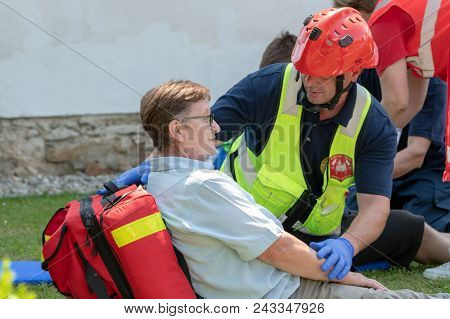 Slovenska Bistrica, Slovenia - June 2 2018: Emergency Services Workers Train In Joint Action With Re