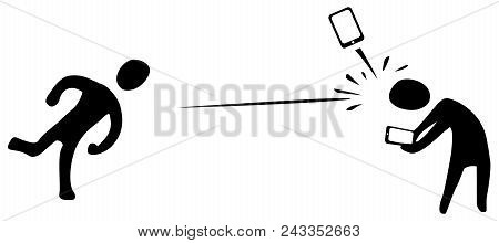 Phone Angry Throw Hit Figure Stencil Black, Vector Illustration, Horizontal, Over White, Isolated