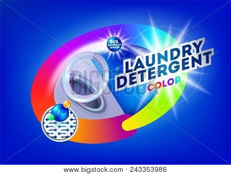 Laundry Detergent For Colored Fabrics. Template For Laundry Detergent. Package Design For Washing Po